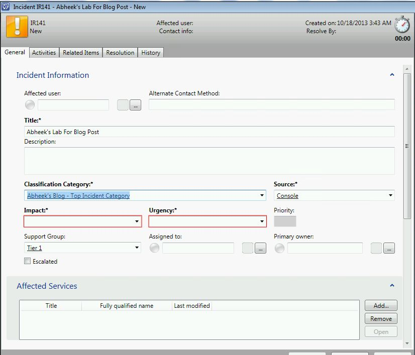 how to create incident in servicenow