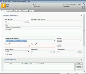 Create Incident in  SCSM System Center Service Manager